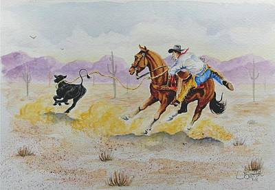 Painting - Ropin' A Dogie by Jimmy Smith