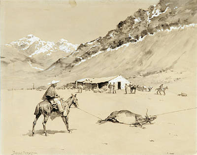 Roping Horse Painting - Roping Cattle At Punta Negra  by MotionAge Designs