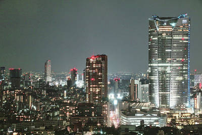 Illuminated Photograph - Roppongi From Tokyo Tower by Spiraldelight