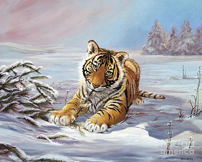 The Tiger Painting - Roque Playful Tiger Cub by Silvia  Duran