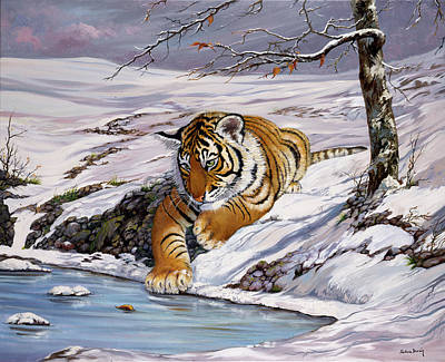 Roque Playing In The Ice Pond Art Print by Silvia  Duran