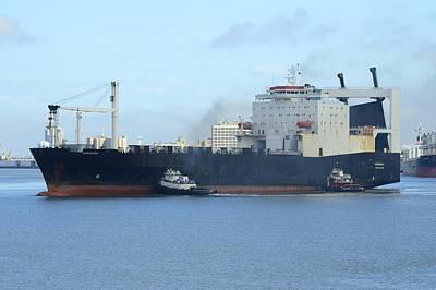 Photograph - Roro Cargo Ship And Tugboats. by Bradford Martin