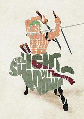Digital Art - Roronoa Zoro Typography Art by Inspirowl Design