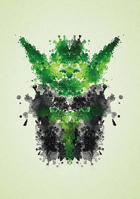 Psychology Drawing - Rorschach Yoda by Philipp Rietz