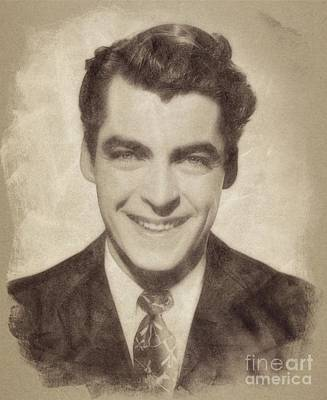 Watercolor Typographic Countries - Rory Calhoun, Vintage Actor by John Springfield by Esoterica Art Agency