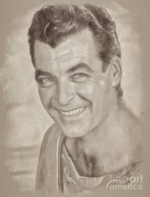 Fantasy Drawings - Rory Calhoun Vintage Hollywood Actor by John Springfield
