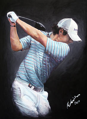 Painting - Rory McIlroy 2010 DWTC by Mark Robinson