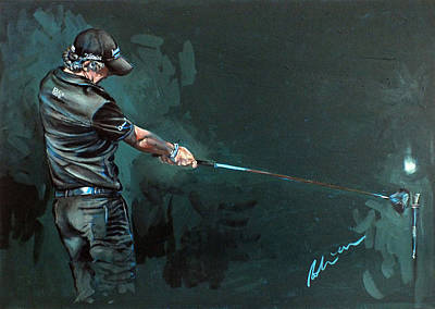 Painting - Rory Mcilroy Trick Shot 2010 by Mark Robinson