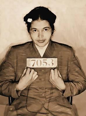 Rosa Parks Mixed Media - Rosa Parks Mugshot by Dan Sproul