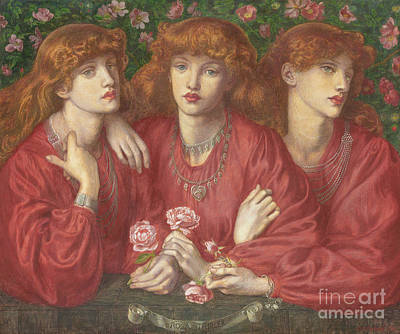 Long Necklace Painting - Rosa Triplex  A Triple Portrait Of May Morris by Dante Gabriel Charles Rossetti