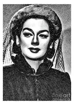 Musicians Drawings - Rosalind Russell, Vintage Actress by JS by John Springfield