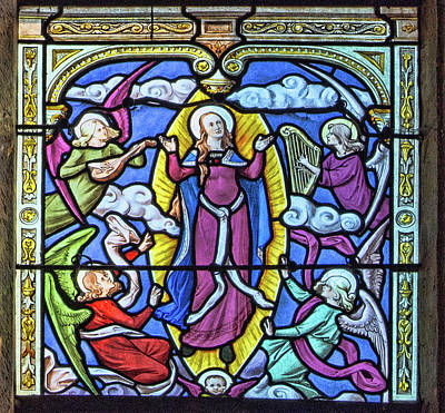 Rosary Window - Fourth  Glorious Mystery - The Assumption Of The Blessed Virgin Mary Into Heaven Art Print