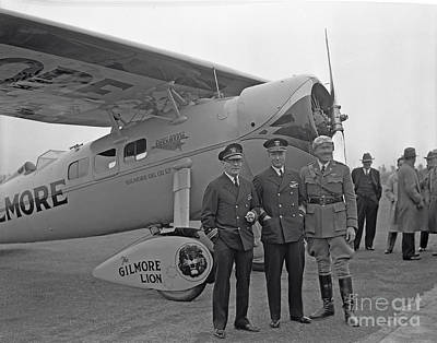 Photograph - Roscoe Turner Standing With His Airplane The Gilmore Lion  by California Views Archives Mr Pat Hathaway Archives