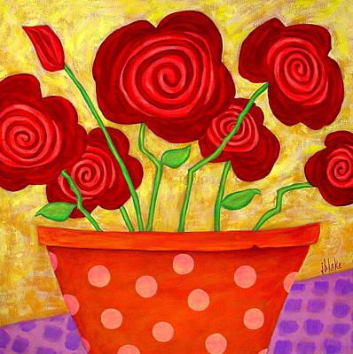 Modern Folk Art Flowers Painting - Rose-a-go-go by John Blake
