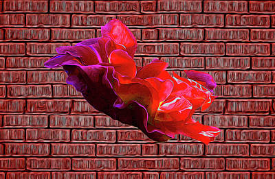 Digital Art - Rose Against The Wall Poster by Aliceann Carlton