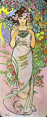 Painting - Rose by Alphonse Mucha
