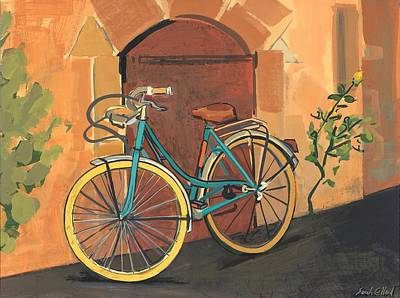 Cycles Painting - Rose And Bicycle by Sarah Gillard