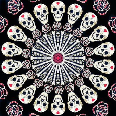 Digital Art - Rose And Bone Mandala Of The Heart by Ronda Broatch