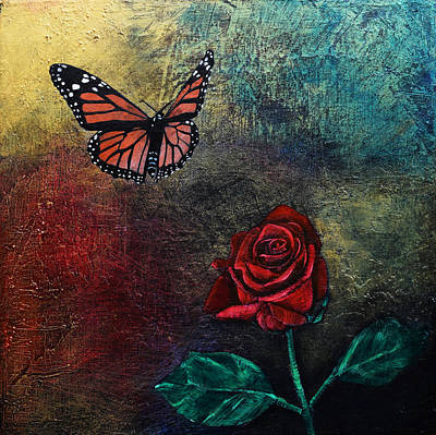 Rose And Butterfly 2 Original by Stephen Humphries