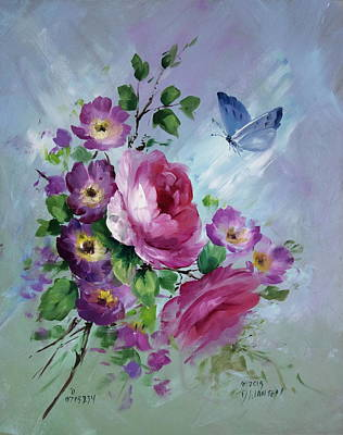 Rose And Butterfly Art Print by David Jansen