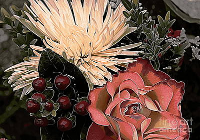 Photograph - Rose And Chrysanthemum by Erica Hanel