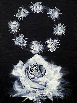 Painting - Rose And Circle Of Bees by Fabrizio Cassetta