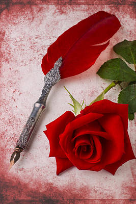 Rose And Feather Pen Art Print by Garry Gay