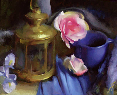 Wall Art - Painting - Rose And Lantern by John Folley