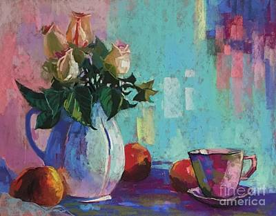 Painting - Rose And Peaches Still Life by Celine  K Yong