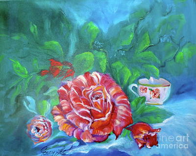 Painting - Rose And Teacup by Jenny Lee