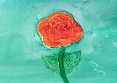 Walmart Painting - Rose And Teal by Nicole Osborn