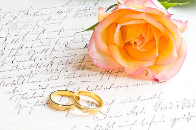 Anniversary Ring Photograph - Rose And Two Rings Over Handwritten Letter by U Schade