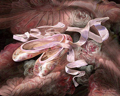 Mixed Media - Rose Ballet Shoes by Carol Cavalaris