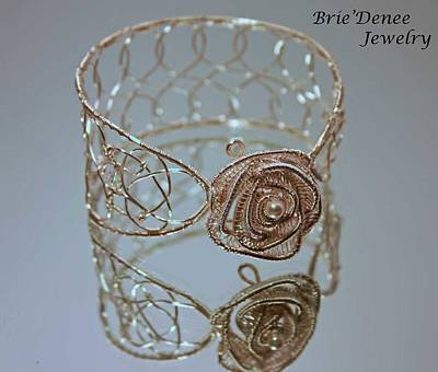 Wire Wrap Bracelet Jewelry - Rose Bangle In Silver With Crystals And Pearls by Brittney Brownell