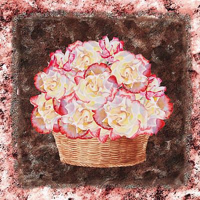Basket Painting - Rose Basket by Irina Sztukowski