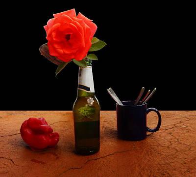 Photograph - Rose Bottle Capsicum Mug Spoons by Mark Blauhoefer