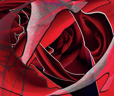 Action Lines Digital Art - Rose Burn by Linda Dunn