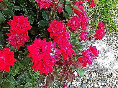 Knockout Roses Digital Art - Rose Bush by Cindy Earlywine