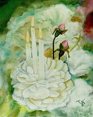 Painting - Rose Candles by Miriam Leah