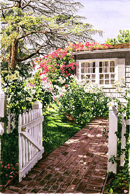 Charming Cottage Painting - Rose Cottage Gate by David Lloyd Glover