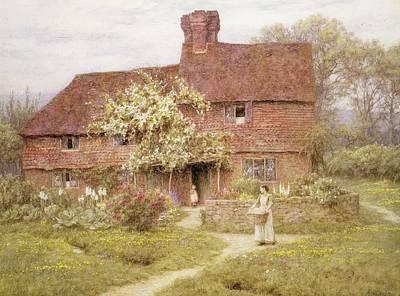 Open Door Painting - Rose Cottage by Helen Allingham