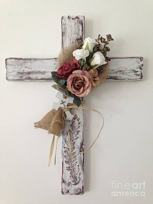 Religious Artist Mixed Media - Rose Cross by Janet Claydon
