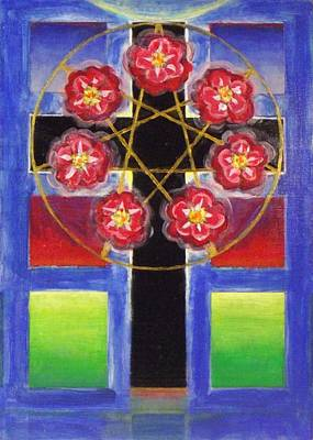 Painting - Rose Cross With 7 Pointed Star, Stephen Hawks 2015 by Stephen Hawks