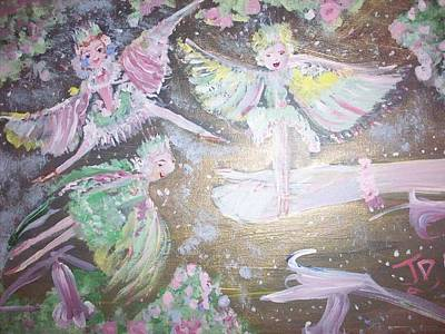 Art Print featuring the painting Rose Fairies by Judith Desrosiers