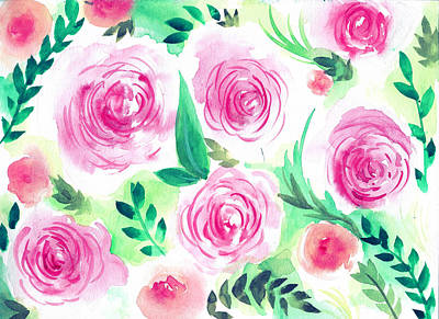 Pink Peach Rose Flower In Watercolor Painting Art Print by My Art