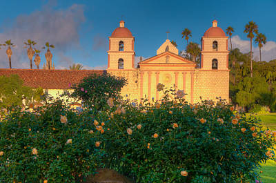 Photograph - Rose Garden At Santa Barbara Mission by Connie Cooper-Edwards