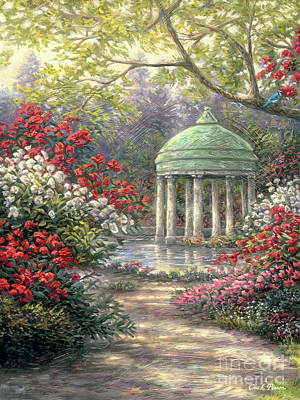 Gazebo Painting - Rose Garden Gazebo by Chuck Pinson