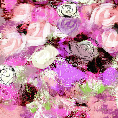 Red Abstract Art Mixed Media - Rose Garden Promise- Art By Linda Woods by Linda Woods