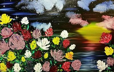 Landscape Painting - Rose Garden by Roxane Gabriel