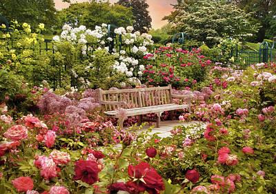 Rose Garden Sunset Art Print by Jessica Jenney